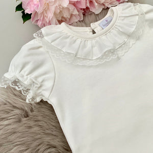 portuguese baby bodysuit with a lace edge frill collar in ivory