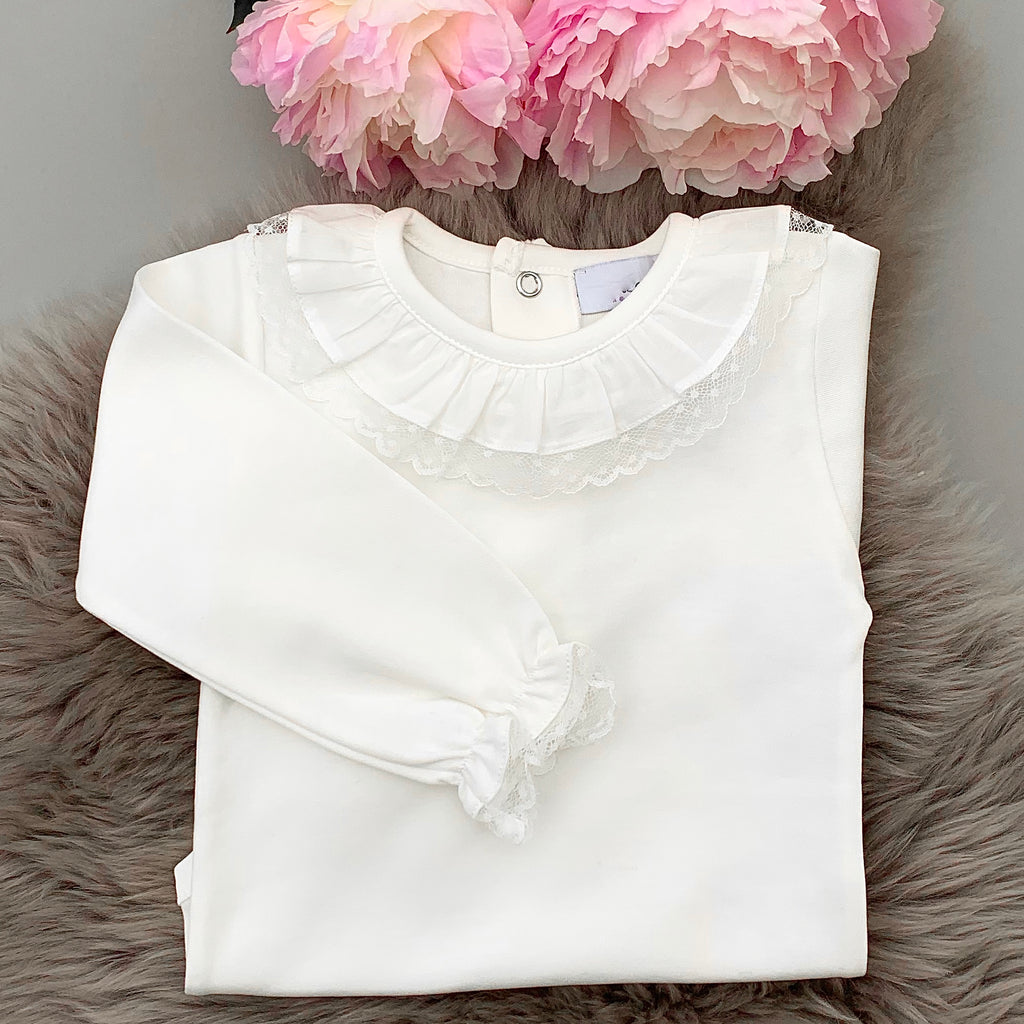 portuguese frill collar bodysuit with lace edges and love sleeves