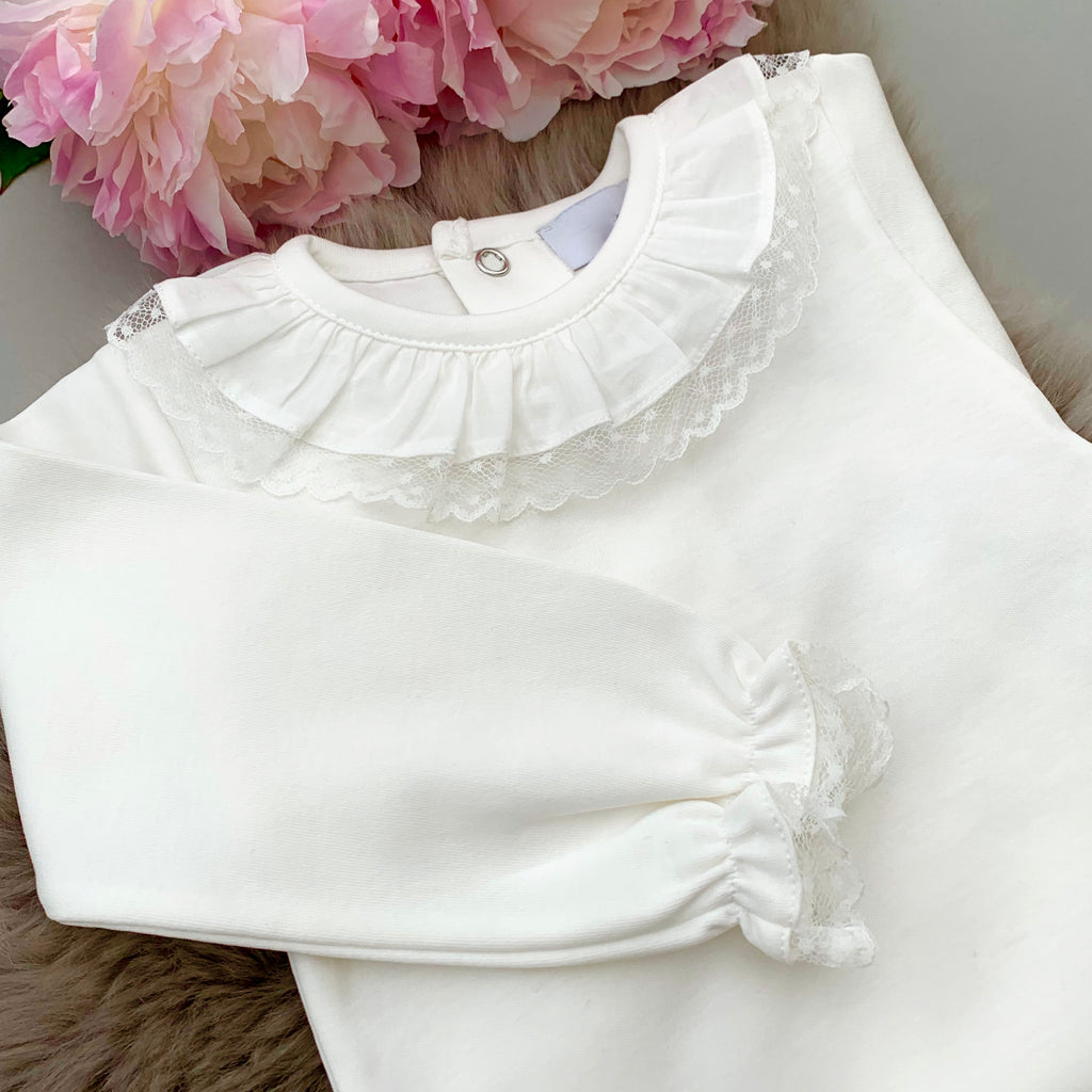 Portuguese lace edge frill collar bodysuit in ivory with long sleeves