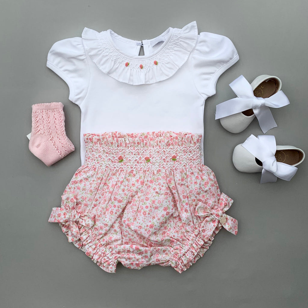 baby girl outfit with floral baby bloomers, frill collar bodysuit, pink socks - made in portugal