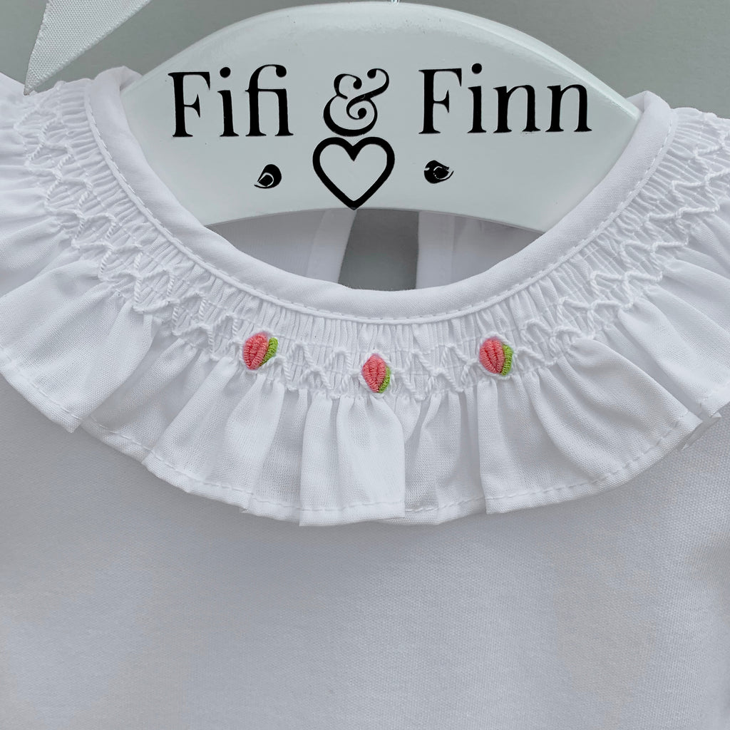 hand smocked frill collar baby bodysuit with embroidered roses, made in portugal