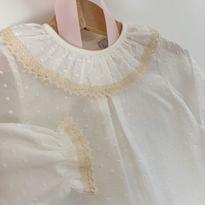 plumeti frill collar classic baby blouse in ivory, made in portugal