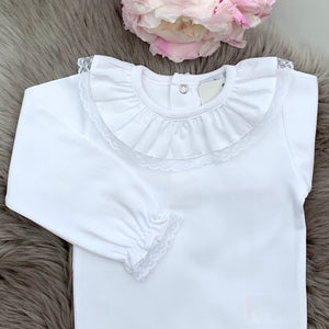 Lace Edge Collar Bodysuit - White (Long Sleeves) - Up to 4Y