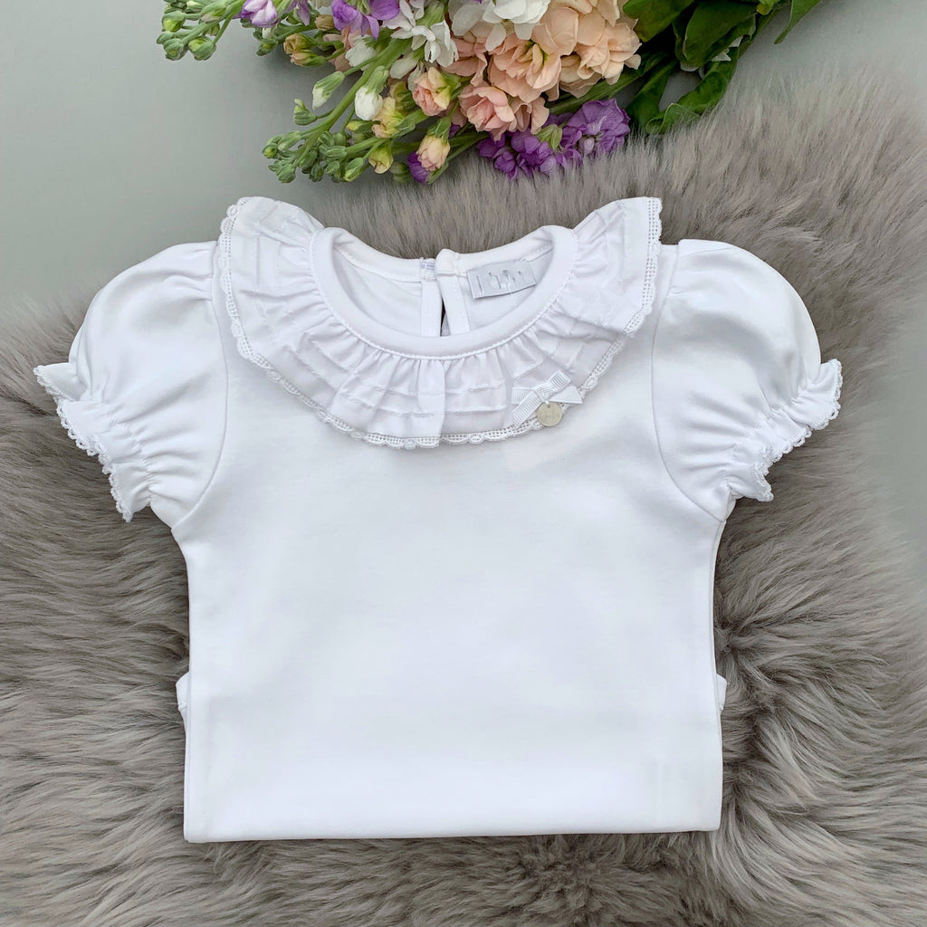 frill collar short sleeved bodysuit with embroidered edging, made in portugal