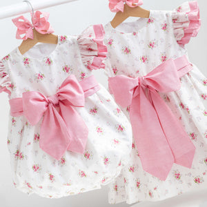 flutter shoulder baby romper and girls dress with bow