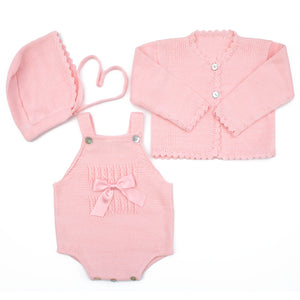 pink knitted baby girl romper, cardigan & bonnet set