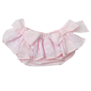 Spanish pink baby bloomer with lace layer