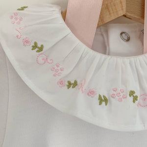 portuguese embroidered frill collar baby bodysuit