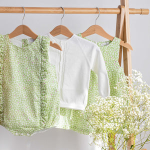 wedoble green frill baby romper, baby cardigan & girls dress