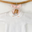 white peter pan collar baby bodysuit with embroidery, made in portugal