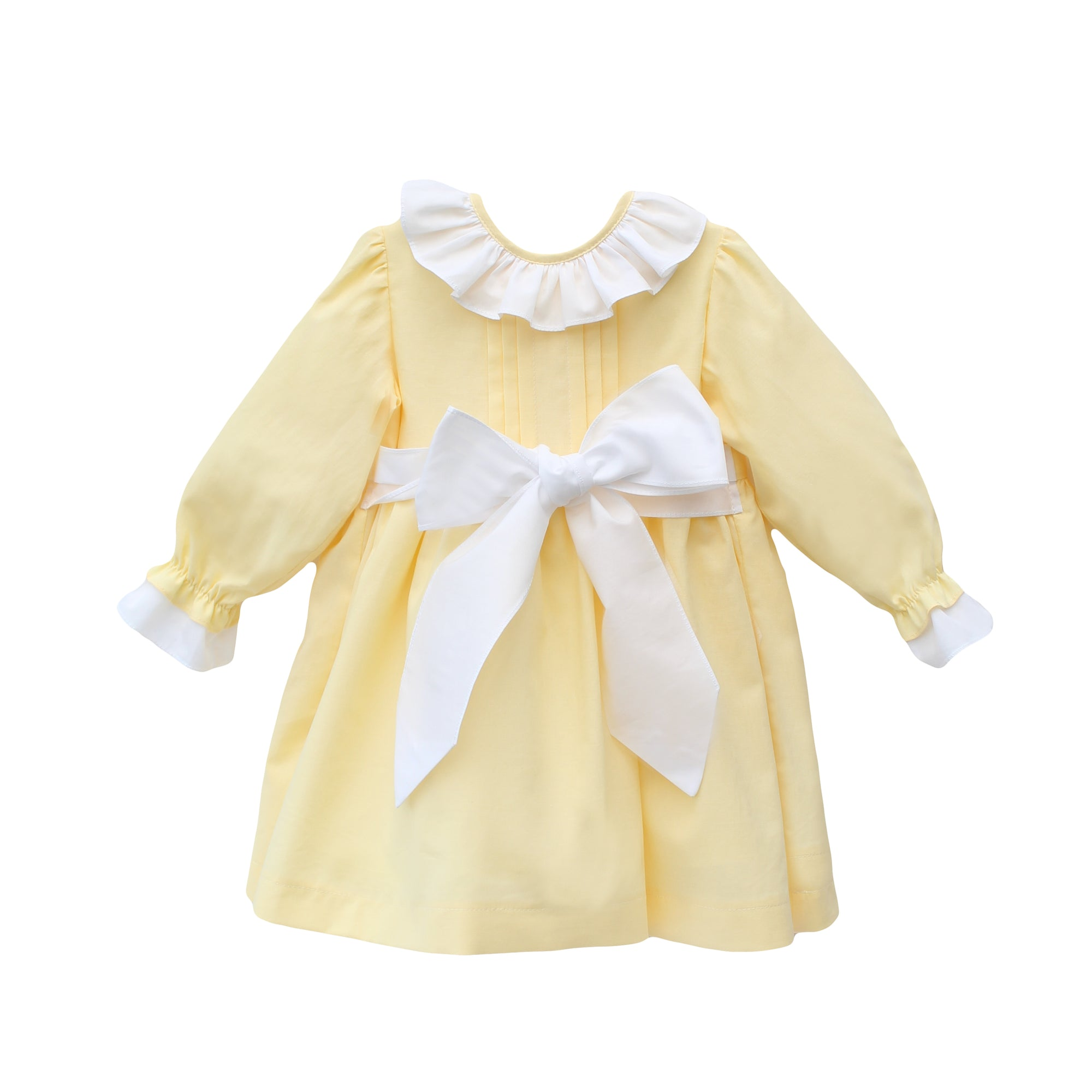 yellow girls dress with frill collar, made in portugal