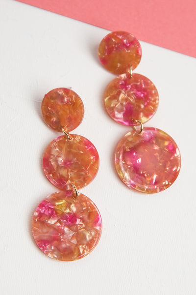 Blushed Resin Dangle Earrings