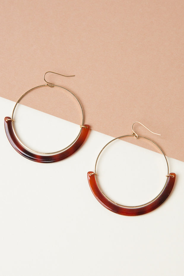 Amber Resin Hoop Earrings
