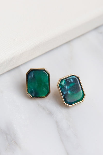 Moss Resin Stud Earrings