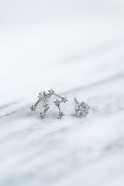 Aquarius 24k White Gold Plated Studs