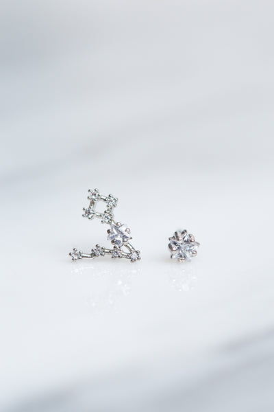 Pisces 24k White Gold Plated Studs