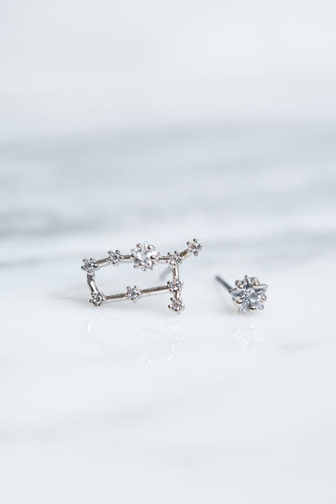 Gemini 24k White Gold Plated Studs