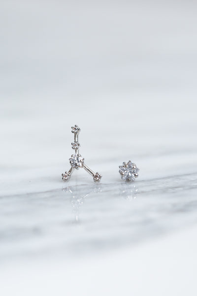 Cancer 24k White Gold Plated Studs