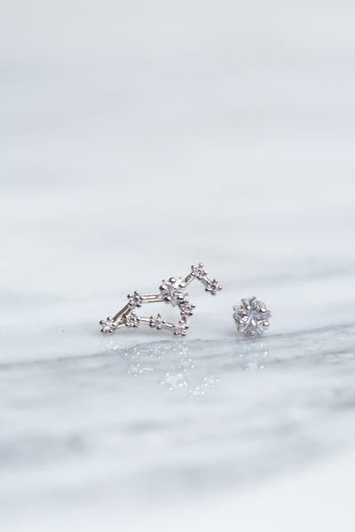 Leo 24k White Gold Plated Studs
