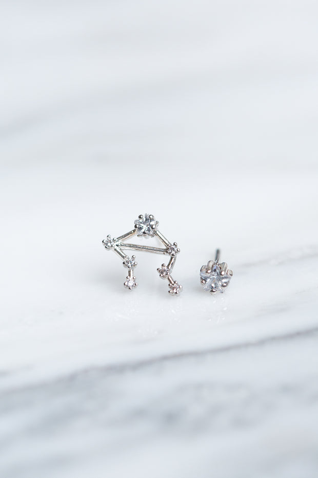 Libra 24k White Gold Plated Studs