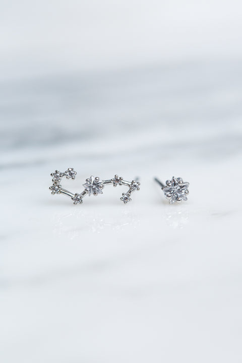Scorpio 24k White Gold Plated Studs