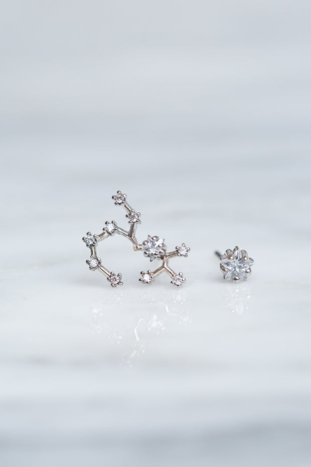 Sagittarius 24k White Gold Plated Studs