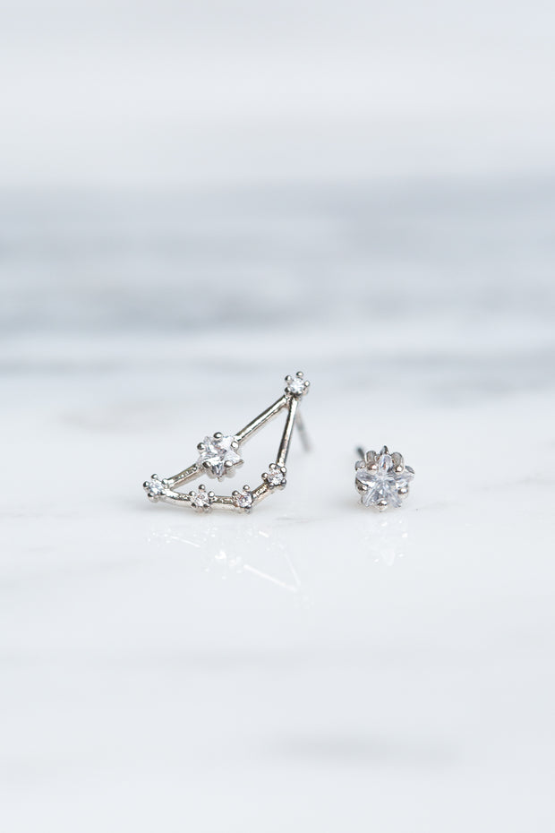 Capricorn 24k White Gold Plated Studs