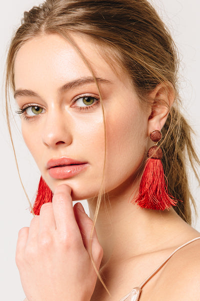 Merlot Tassel Earrings