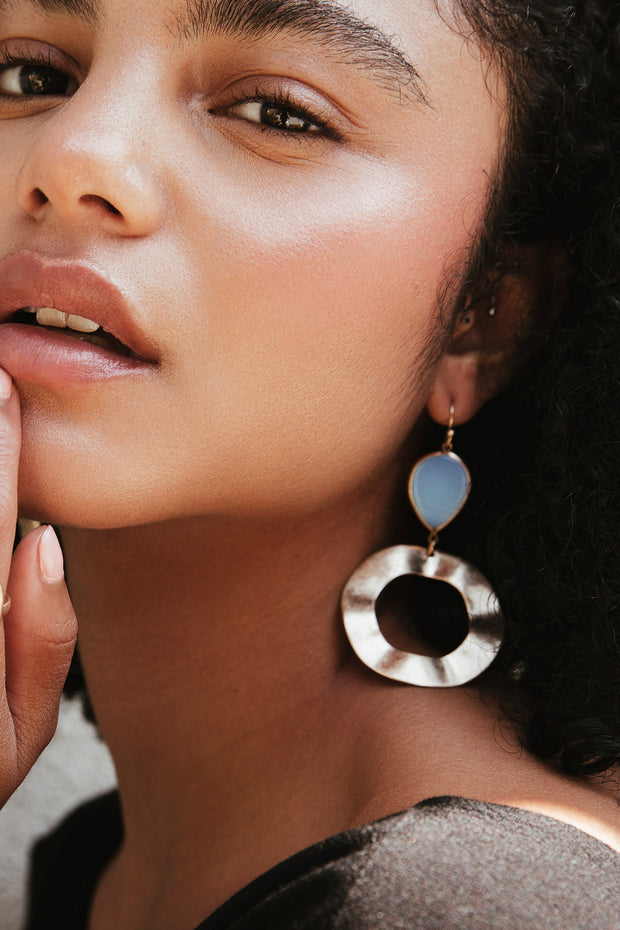 Lustrous Natural Stone Earrings