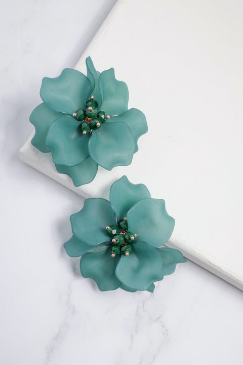 Emerald Floral Earrings