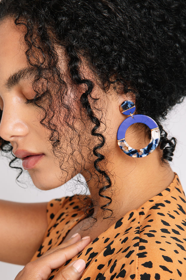 Cobalt Resin Drop Earrings
