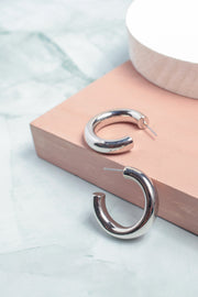 Small Tube Hoop Earrings in Silver