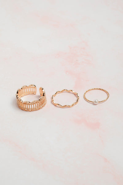Pearl Stacked Ring Set