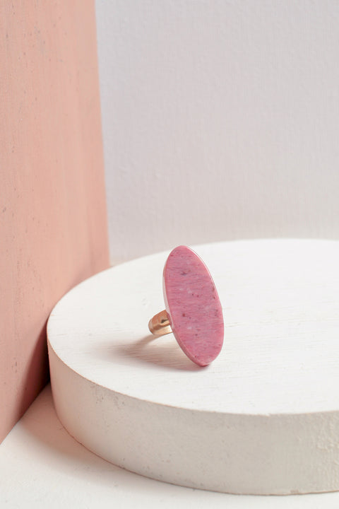 Oval Stone Ring in Red