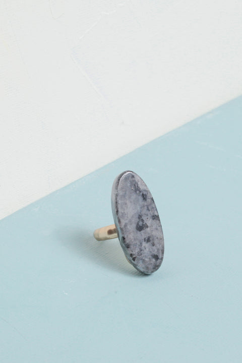 Oval Stone Ring in Gray