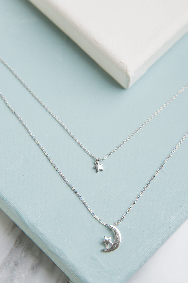 Luna White Gold Plated Layered Necklace