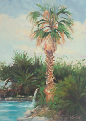 Palm Tree and Waterfall