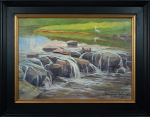White Crane and Waterfall - Miramont