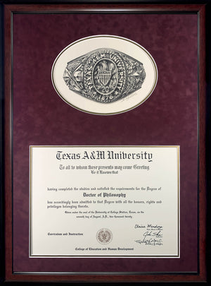 Diploma with Aggie Ring Print