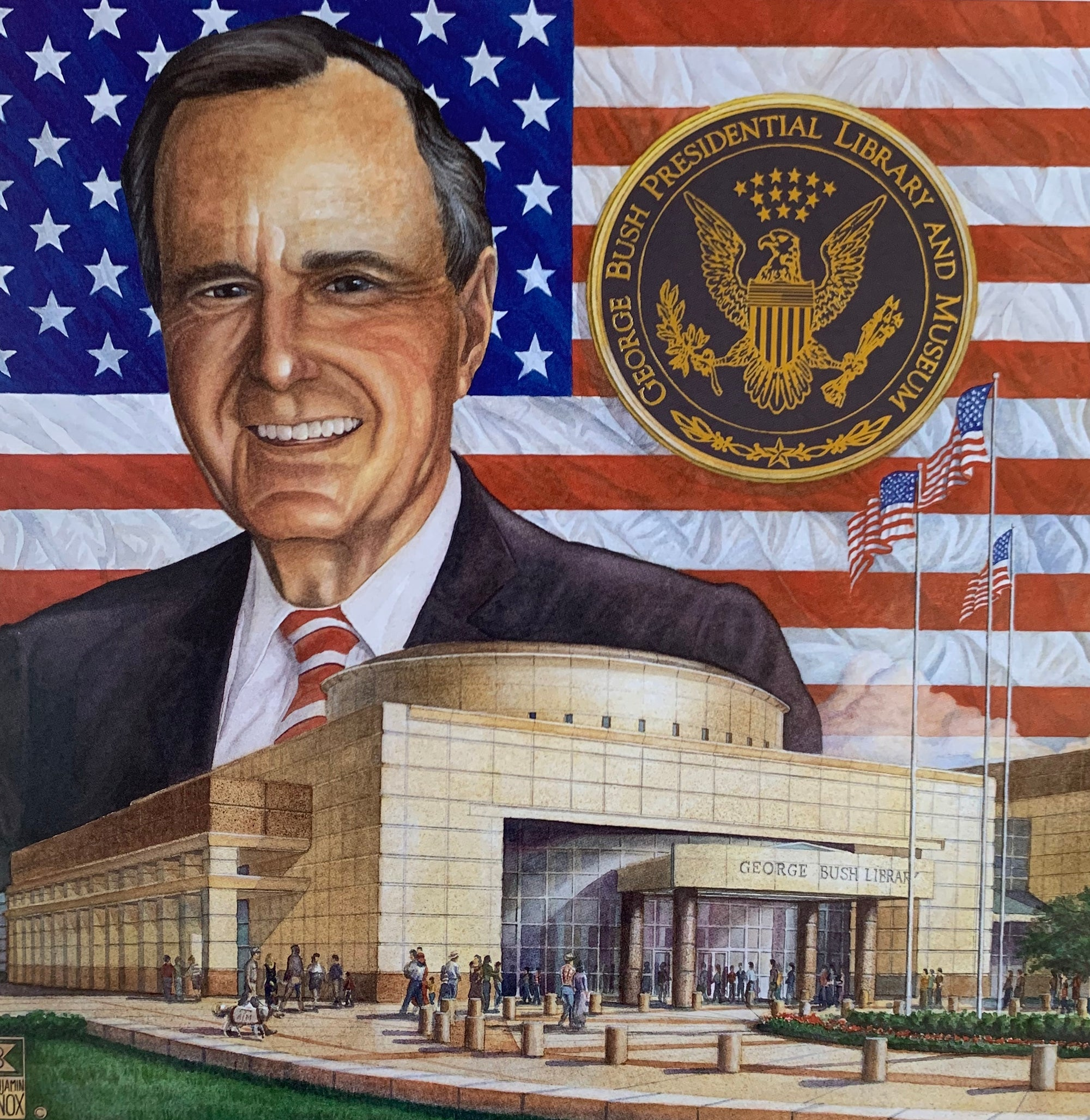 George Bush Presidential Collage - Print - Benjamin Knox Fine Art Gallery