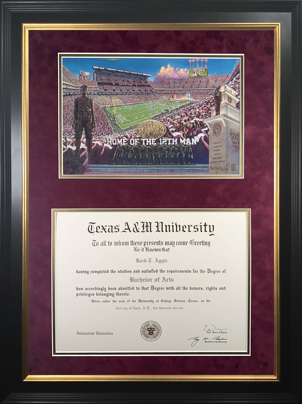 Diploma with New Kyle Field