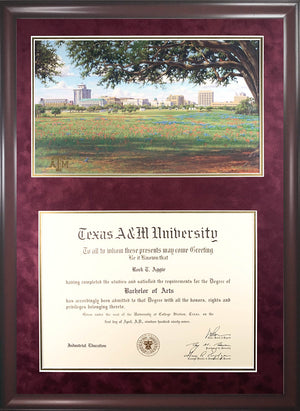 Diploma with Texas A&M Campus View