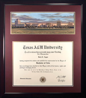Diploma with Sunset Over Aggieland