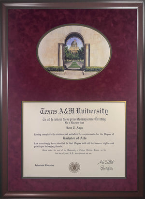 Diploma with View Through Albritton Tower Print