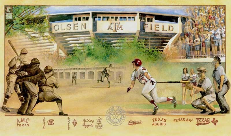 Aggie Baseball Collage - Print - Benjamin Knox Fine Art Gallery