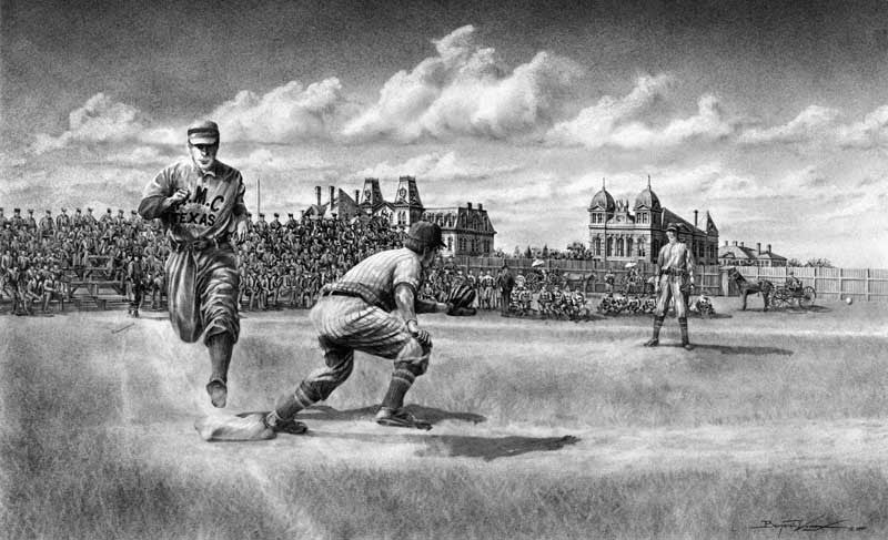 Historic Aggie Baseball Pencil - Print - Benjamin Knox Fine Art Gallery