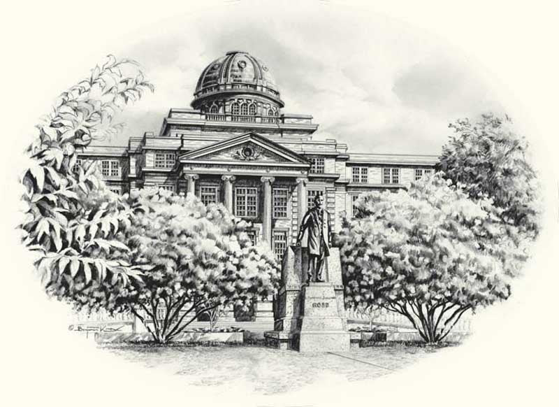 Texas A&M University - Academic Building Pencil Sketch Print - Print - Benjamin Knox Fine Art Gallery