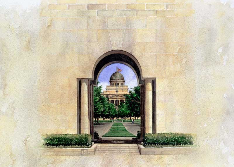 Texas A&M University - View Through Albritton Tower - Print - Benjamin Knox Fine Art Gallery