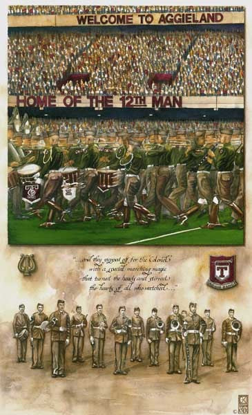 Texas A&M University - Aggie Band: Step Off Hullabaloo - Print - Benjamin Knox Fine Art Gallery