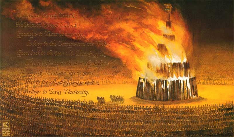 Texas A&M University - Bonfire/Aggie War Hymn - Print - Benjamin Knox Fine Art Gallery